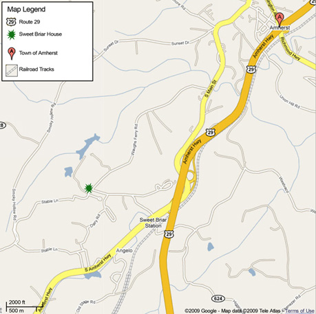 Map of Amherst, Virginia